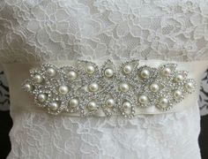 Bridal Pearl Belt Buckle Bridal Pearl Beaded Sash by gebridal