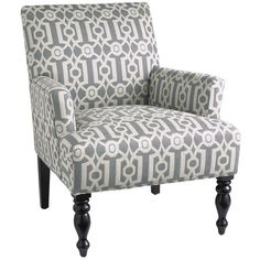 Our popular Liliana silhouette is now covered in Ironwork—or at least, a distinctive graphic Ironwork pattern. Underneath, it's the same classic, comfy chair you've come to love, with slim flared arms, a deep cushioned seat, self-welting and turned hardwood front legs. Better strike while the ironwork's hot.