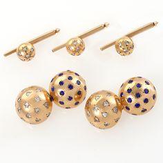 Van Cleef & Arpels Diamond, Sapphire and 18 Karat Gold Dress Set, Call Macklowe Gallery 212-644-6400