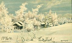 Julekort Kunstnerkort Otto Valstad brukt 1904 Utg J. F.