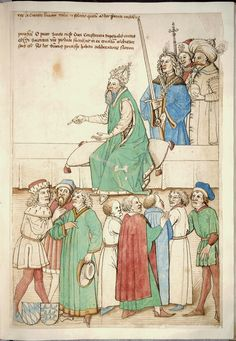 The Roman King on the throne with imperial dignitaries and other courtiers in hungarian costumes (The author of the Chronicle of Council of Constance (1414 - 1418) is Ulrich Riechental (1360's - 1436/1437), This manuscript is of earlier date, originating from 1470's)  from:http://www.unesco.org/webworld/mdm/visite/constantin/en/present2.html