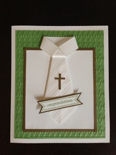 Communion card shirt and tie First Communion Cards, Boys First Communion, Première Communion, Confirmation Cards, Baptism Cards, Scrapbook Paper Crafts, Scrapbook Cards, Christian Cards, Masculine Cards