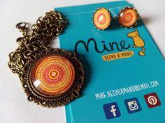 Camafeo redondo con pendientes 8€ #conjunto #espiral #colores #handmade #bisutería #bronce #bonita #happy #primavera
