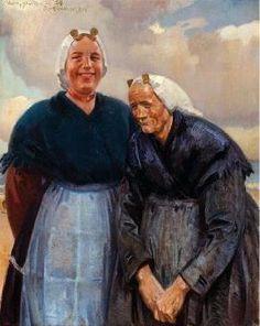 Jan Willem 'Willy' Sluiter (1873-1949). Scheveningse vissersvrouwen in 1939. #ZuidHolland #Scheveningen