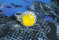 Ring Jewelry Swarovski Crystal Ring Yellow Opal #mothersday #fmothersdaygift #mothersdayidea