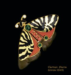 https://flic.kr/p/adxGkV | Vintage Cartier, Paris (circa 1945) 18 karat gold, coral, emerald and enamel brooch | Tiger-moth (Arctia caja) - see adjacent painting _________  Image compilation by plumleaves