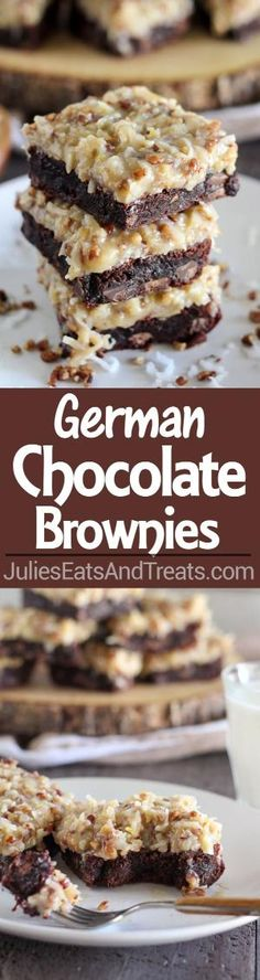 German Chocolate Brownies Recipe ~ Rich chocolaty brownies topped with a gooey homemade coconut pecan frosting. Make the brownies from scratch, or use a boxed brownie mix as the base of this recipe. You'll love this decadent dessert! by Lovelylovely