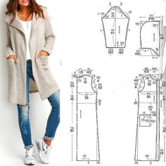 Simple Dresses Pattern Making Sewing Crafts Sewing Projects Diy Crafts Dress Patterns Sewing Patterns T Dress Japanese Books Coat Pattern Sewing, Sewing Coat, Easy Sewing Patterns, Coat Patterns, Jacket Pattern, Clothing Patterns, Dress Patterns, Pattern Drafting, Make Your Own Clothes