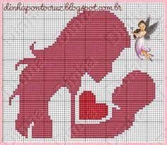 0 point de croix mere et bebe - cross stitch mother and baby Cross Stitch Alphabet Patterns, Cross Stitch Designs, Cross Stitch Heart, Beaded Cross Stitch, Graph Crochet, Pixel Pattern, C2c, Plastic Canvas Patterns, Cross Stitching