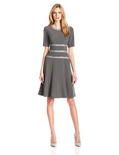 Anne Klein Women's Short Sleeve Fit and Flare Dress, Pewter  $129.00• Shopping Cheap Online