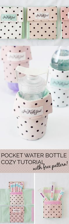 Pocket Water Bottle Cozy--perfect for stashing keys and drink powder!