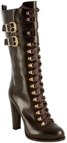 FENDI Dark Brown Leather Lace-up Buckle Boots