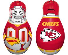 The Mini Tackle Buddy Bop Bag, a table top punching bag for the Kansas City Chiefs super fan!