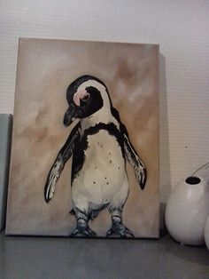 Pinguïn  15.01.2014 Oil on canvas 30x40 Sold