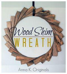 Simple Wood Shim Wreath. Love the simplicity!