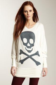 Love Pirate V-Neck Dolman Tunic Sweater