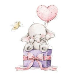 Elephant Bela Heart Balloon Unmounted Rubber Stamp Wild Rose Studio # New Elephant Love, Elephant Art, Elephant Gifts, Illustration Mignonne, Cute Illustration, Elephant Illustration, Cute Drawings, Animal Drawings, Cute Images