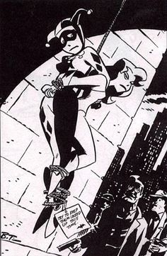 Harley and Ivy caught by Commissioner Gordon and Harvey Bullock - Sketch by Bruce Timm