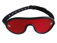 Bondage echt Leder Augenmaske Augenbinde rot schwarz mit Schnallenverschluss