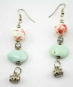 Mint and white spray ceramic beads earrings