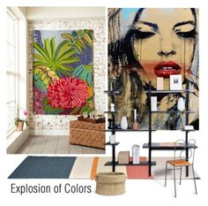"""Explosion of Colors"" by nicolevalents ❤ liked on Polyvore featuring interior, interiors, interior design, home, home decor, interior decorating, Captiva, Olsson and Palecek"