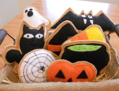 Set of 8 Halloween Felt cookies Basket by OurCraftyCorner2 on Etsy, $13.99