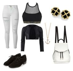 """""""⚫️⚪️"""" by barbarasoraya ❤ liked on Polyvore featuring Versace, Frame Denim, Narciso Rodriguez, Minor Obsessions and rag & bone"""