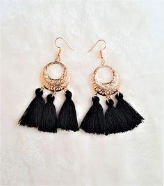Black Tassel Earrings Gold tone Metal Hoop, Dangle Drop Boho Earrings, Hoop Earrings, Bohemian Jewelry, Statement Earrings, Beach Earrings