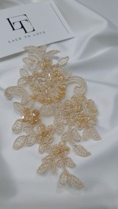 Beige Lace applique Beaded lace applique French Chantilly