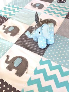 Elephant Quilt in Blue and Grey