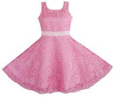 Girls Dress Pink Rose Wedding Pageant Kids Boutique SZ 3 4 5 6 7 8 9 10 11 12 #SunnyFashion #Party
