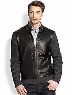 Salvatore Ferragamo - Wool & Leather Sweater Jacket