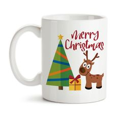 Coffee Mug, Merry Christmas Reindeer Christmas Tree Christmas Present Art Christmas Gift Christmas Art, Gift Idea, Coffee Cup
