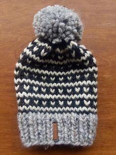 93ac4cabd79ae Kose Slouchy Fair Isle Women PomPom Hat Grey Marble