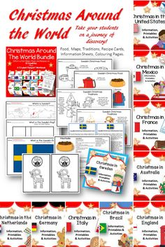 10 Individual Christmas Around the World products which each contain the following items: •Map to find the country •Flag of that country •Traditional Christmas Food for that country •Christmas traditions for that country •Information Cards to print and laminate on Christmas in that country •Traditional Recipe from that country •Flyer to hand out for visitors to your classroom on that country Everything you need to celebrate Christmas in the classroom. Download Bundle or Individual