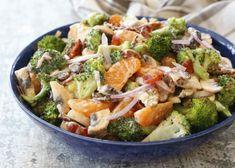 Irresistible Mandarin Broccoli Salad - get the recipe at barefeetinthekitchen.com