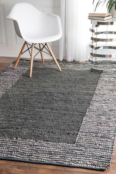 Rugs USA Westland Handwoven Striped Border Leather RUG