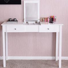 Makeup Vanity Table Set With Mirror Bedroom Dressing Table Desk White Wood MDF  #MakeupVanityTable #Modern
