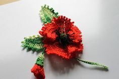 Poppy Remembrance brooch SUMMER CROCHET COTTON FLOWERS APPLIQUE EMBELLISHMENT | eBay