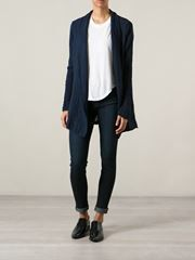 Skinny jeans,  oxfords and with this kind of jacket/cardigan ♡