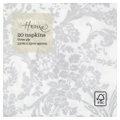 Waitrose Home 33cm silver damask napkins, pack of 20