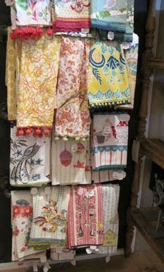 anthropologie dish towels -- maybe I could afford *these* anyway.  (Uh, probably not.  ;)