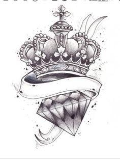 Diamond Tattoo Designs, Card Tattoo Designs, Diamond Tattoos, Tattoo Design Drawings, Tattoo Sketches, Diamond Crown Tattoo, Tattoo Ideas, Diamond Rings, Bild Tattoos