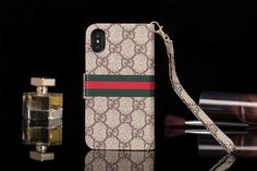 Gucci iPhone X iPhone 7 Plus Wallet Case coque brown