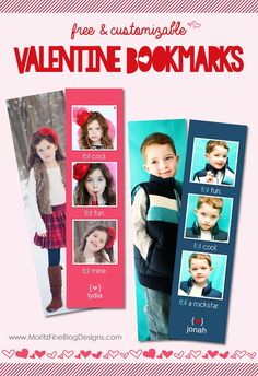 adorable! DIY Valentine Bookmarks. Fun for your kids to hand out at school. | www.MoritzFineBlogDesigns.com