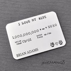 Personalized Credit card, Hand Stamped, Father's Day gifts, Men's Gift, I love my wife, anniversary gift for husband, gifts for him, wedding on Etsy, $34.00