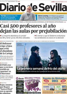 Los Titulares y Portadas de Noticias Destacadas Españolas del 18 de Noviembre de 2013 del Diario De Sevilla ¿Que le pareció esta Portada de este Diario Español?