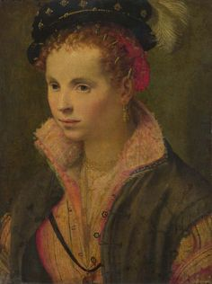 1565-1575 Italian, North - Portrait of a Lady in a Plumed Hat from History of fashion in art & photo