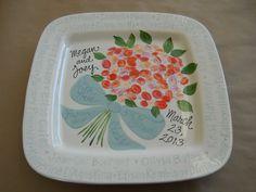 teacher wedding gift from class fingerprint bouquet by Pottery Piazza