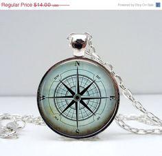 SALE Compass Necklace  Blue. North South East West. by Lizabettas, $9.80